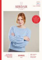 Sirdar Soiree Aran Knitting Pattern Booklet - 10071 Sweater with Puff Sleeves